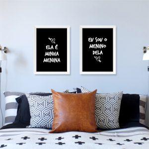 Quadros Quarto de Casal Menino e Menina Moldura Branca Ambientado | Wall Done