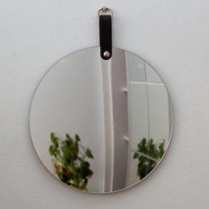 espelho-de-parede-redondo-couro | Wall Done