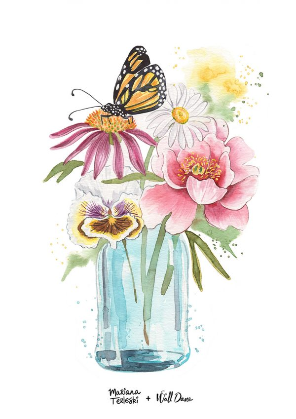 poster-aquarela-copo-flores | Wall Done