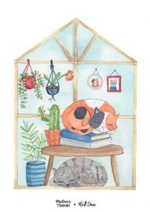 poster-aquarela-gatos-dormindo | Wall Done