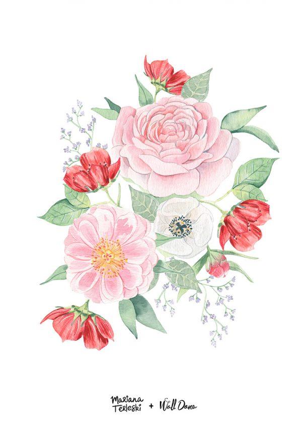poster-aquarela-rosas | Wall Done