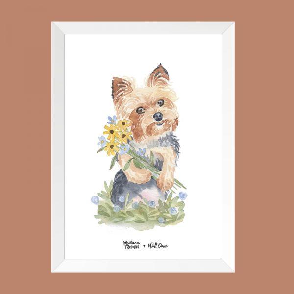 quadro-aquarela-cachorro-iorque-moldura-branca | Wall Done