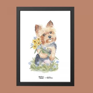 quadro-aquarela-cachorro-iorque-moldura-preta | Wall Done