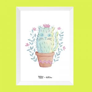 quadro-aquarela-catcactus-moldura-branca | Wall Done