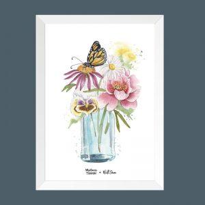 quadro-aquarela-copo-flores-moldura-branca | Wall Done