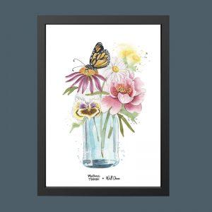 quadro-aquarela-copo-flores-moldura-preta | Wall Done