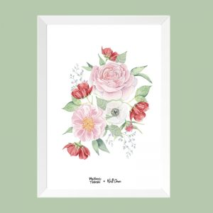 quadro-aquarela-rosas-moldura-branca | Wall Done