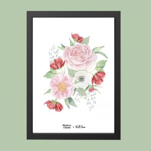 quadro-aquarela-rosas-moldura-preta2| Wall Done