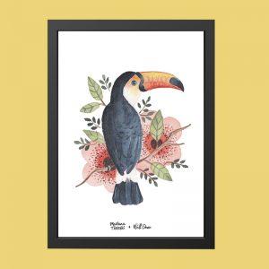 quadro-aquarela-tucano-moldura-preta | Wall Done