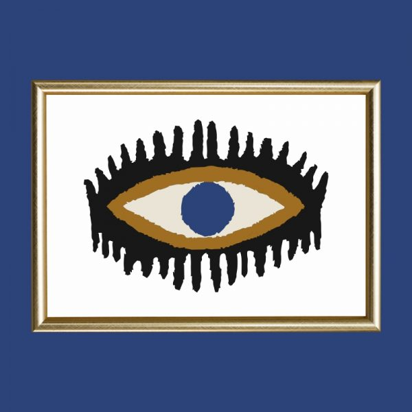 quadro-olho-chic-moldura-dourada | Wall Done