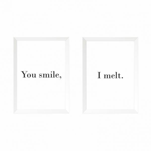 quadros-smile-melt-moldura-branca-walldone