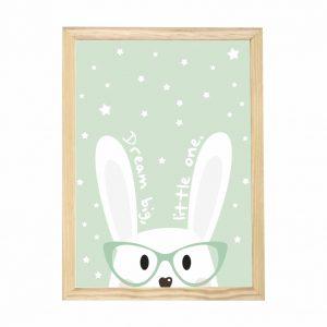 quadro-coelho-sonhador-moldura-pinus-walldone