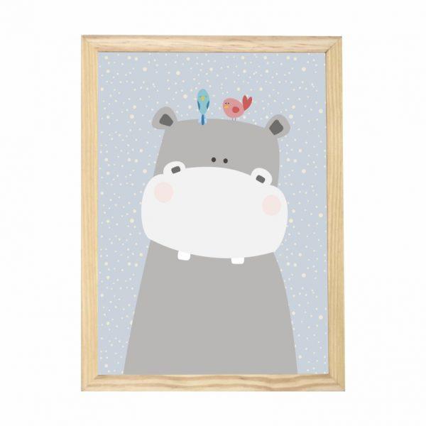 quadro-hipopotamo-moldura-pinus-walldone