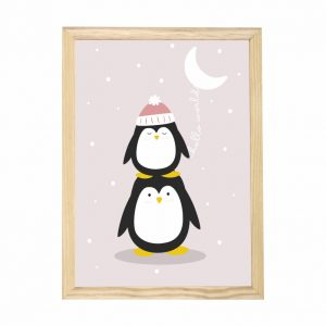quadro-pinguim-moldura-pinus-walldone