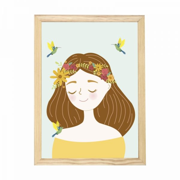 quadro-menina-flores-moldura-pinus-walldone