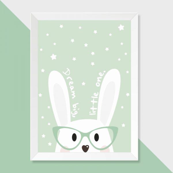quadro-coelho-sonhador-moldura-branca-walldone