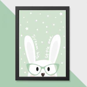 quadro-coelho-sonhador-moldura-preta-walldone