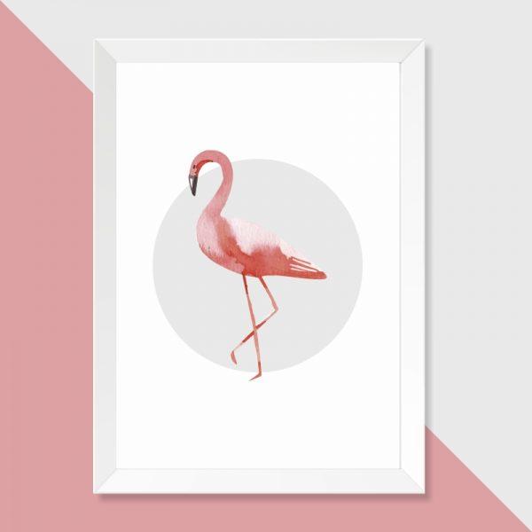 quadro-flamingo-moldura-branca-walldone