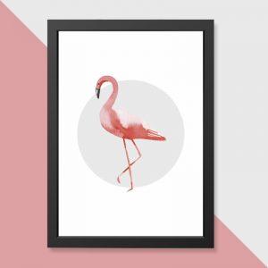 quadro-flamingo-moldura-preta-walldone
