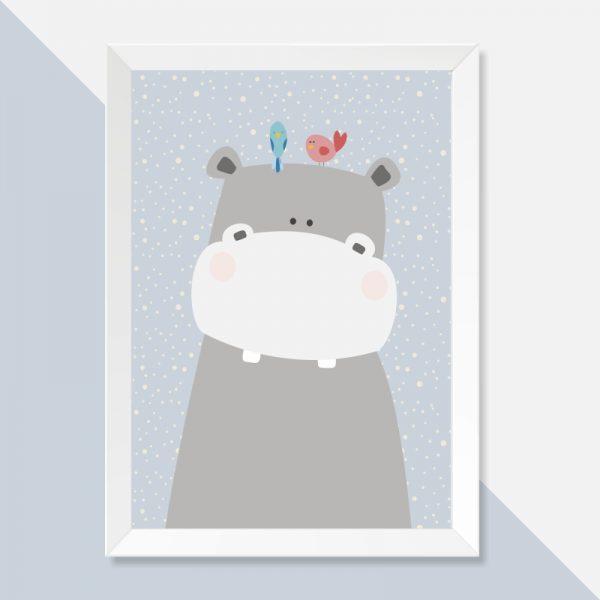 quadro-hipopotamo-moldura-branca-walldone