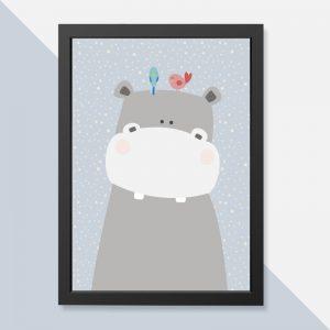 quadro-hipopotamo-moldura-preta-walldone