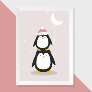 quadro-pinguim-moldura-branca-walldone